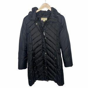 Michael Kors Black Long Hooded Down Puffer Coat